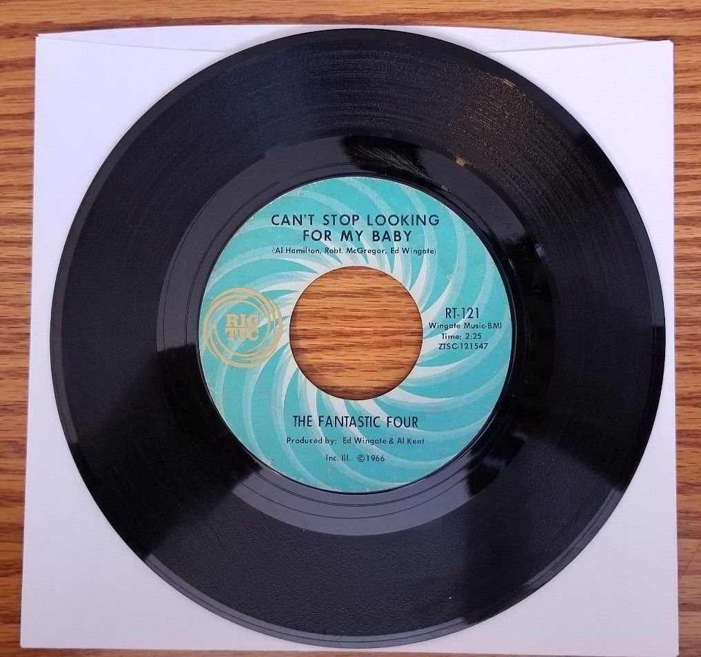 Vintage 45 RPM The Fantastic Four Can't Stop Looking For My Baby Ric-Tic RT-121