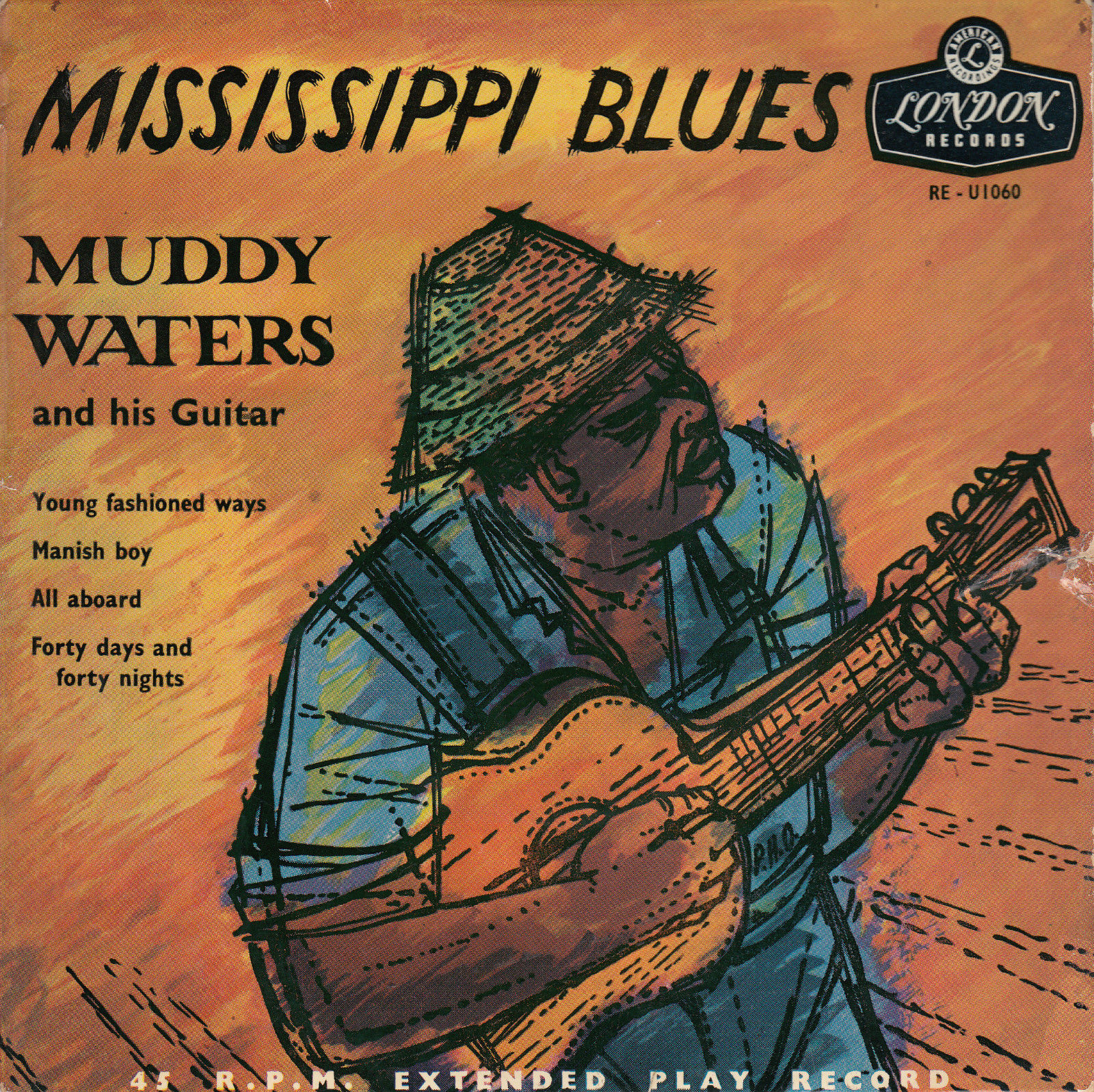 MUDDY WATERS 1956 TRI  GOLD UK LONDON EP *MISSISSIPPI BLUES* MANISH BOY + 3