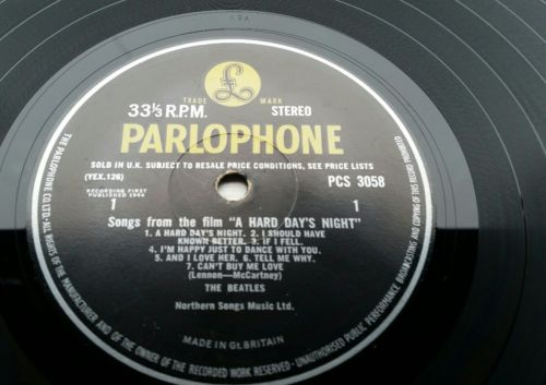 THE BEATLES uk 1st STEREO HARD DAYS NIGHT (parlophone rims PCS 3058) EX/EX *WOW*