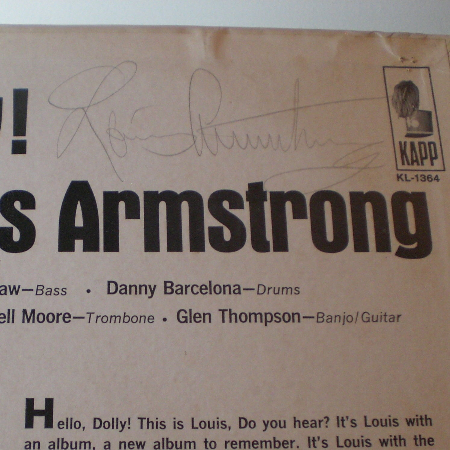 Louis Armstrong - Hello Dolly - Signed by Louis Armstrong
