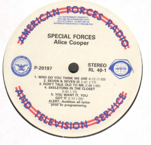 "ARMED FORCES LP -   ALICE COOPER ""SPECIAL FORCES""  &  IGGY POP  ""PARTY""  RARE LP"
