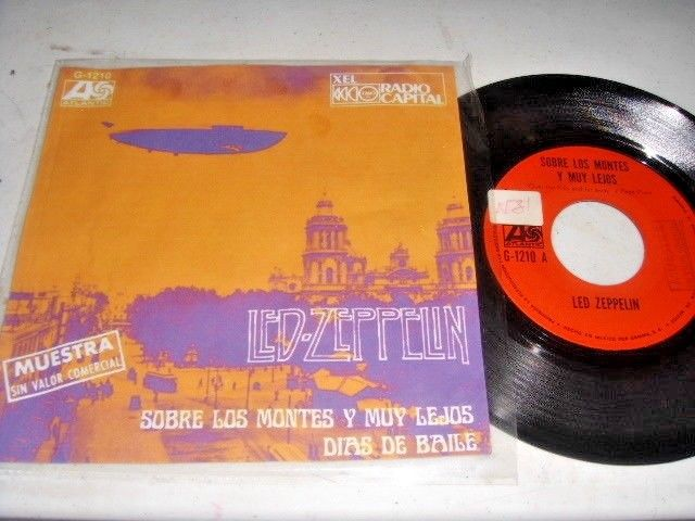 """LED ZEPPELIN Over The Hills And Far Away 1973 MEXICO 7"""" RADIO PROMO 45"""