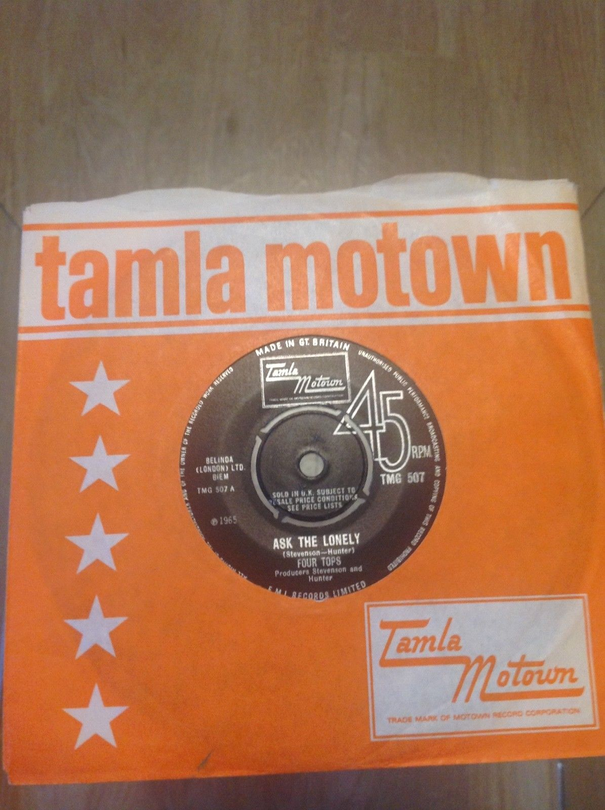 Northern Soul Tamla Motown 1st Four Tops Ask the lonely /Where -TMG 507 M- RARE