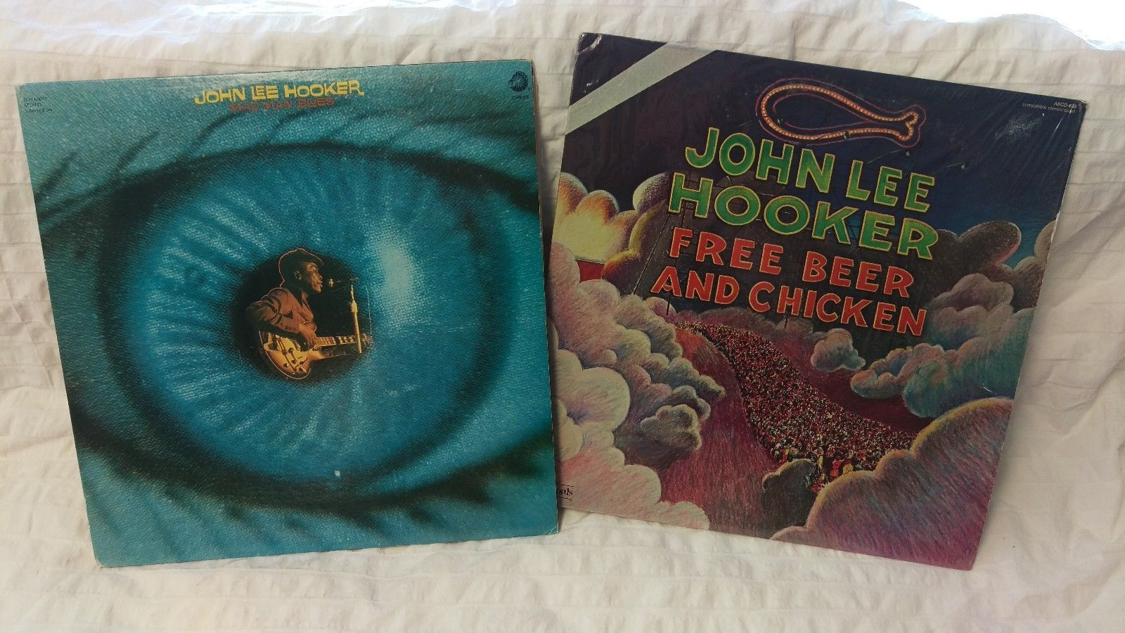 John Lee Hooker Mad Man Blues Promo Copy and Free Beer and Chicken Vinyl Records