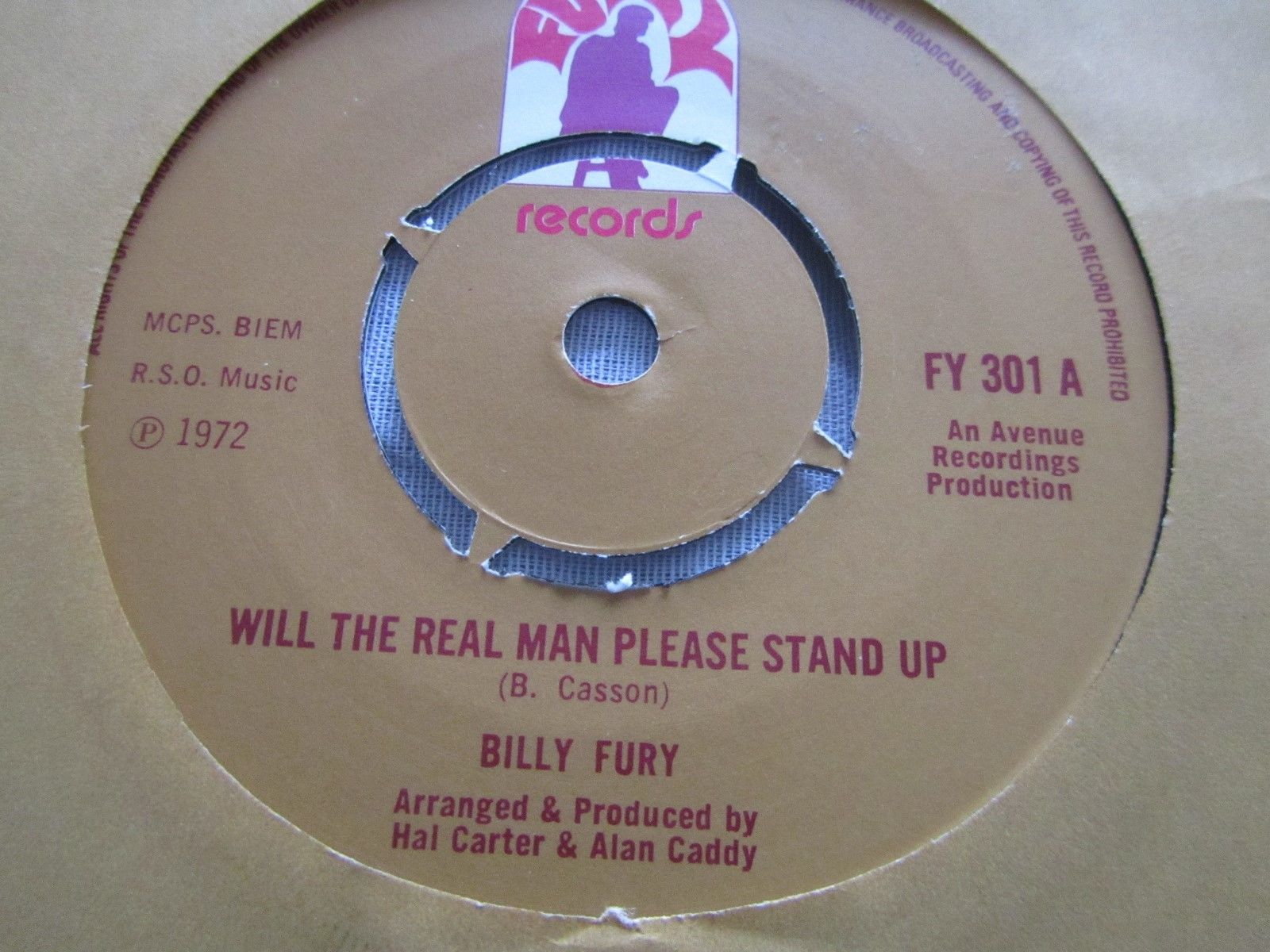 """BILLY FURY-Will the Real Man Please Stand up-Rare 1972 Furys Label 1st Issue 7"""""""