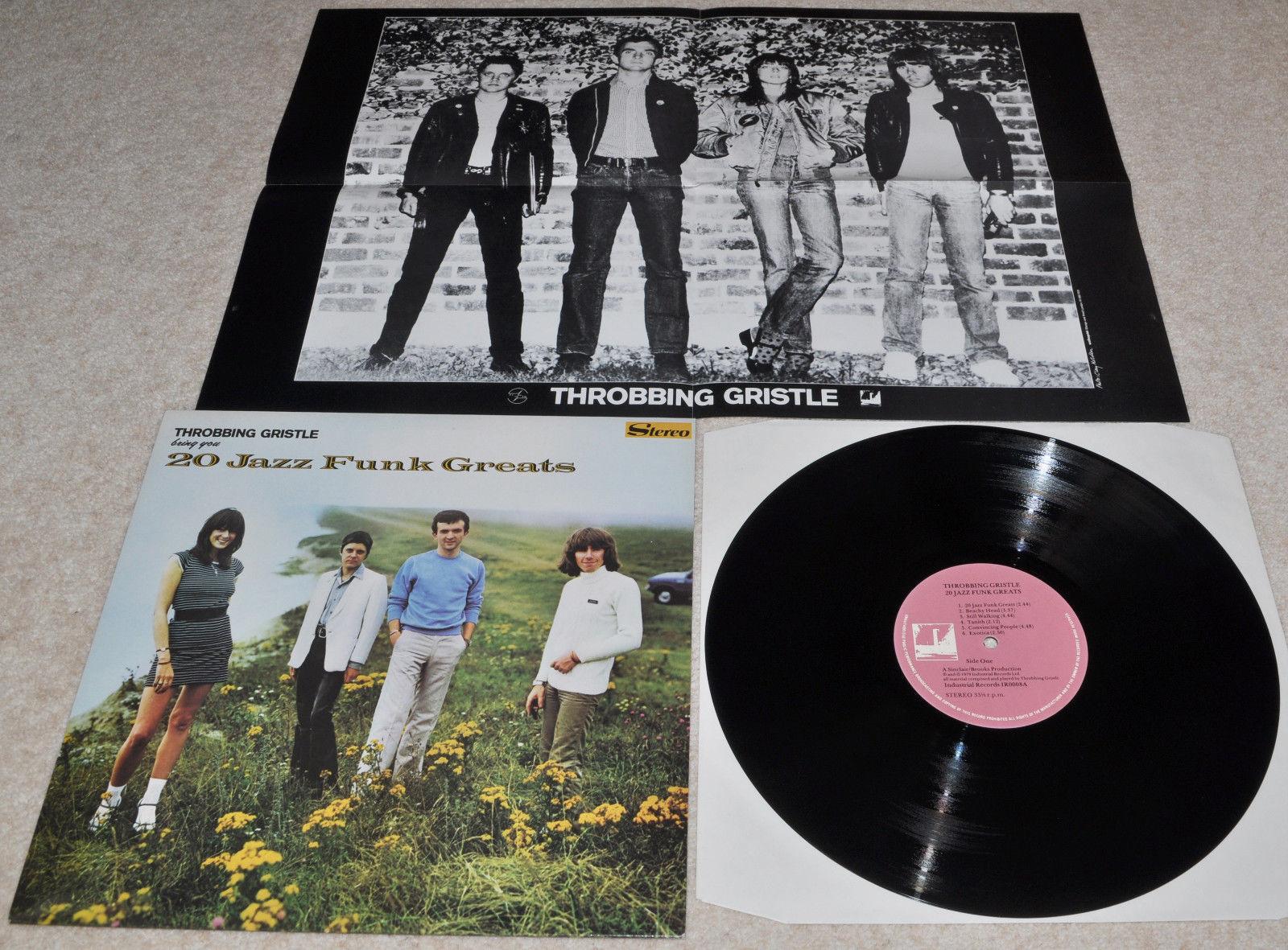 THROBBING GRISTLE 20 Jazz Funk Greats RARE ORIG UK 79 NEAR MINT LP + N/M POSTER.