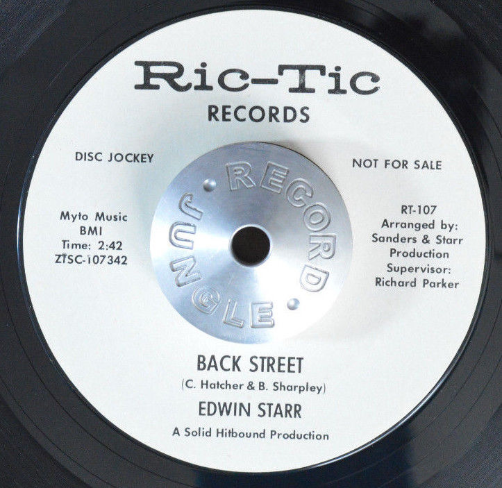 NORTHERN SOUL 45 - EDWIN STARR - BACK STREET /INST. WL PROMO Ric-Tic Hear