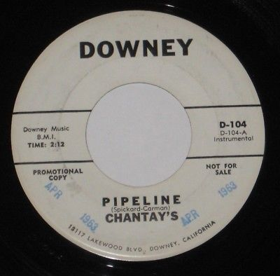 "RARE Chantay's 7"" 45 DJ PROMO HEAR SURF ROCK Pipeline DOWNEY #104 Move It"