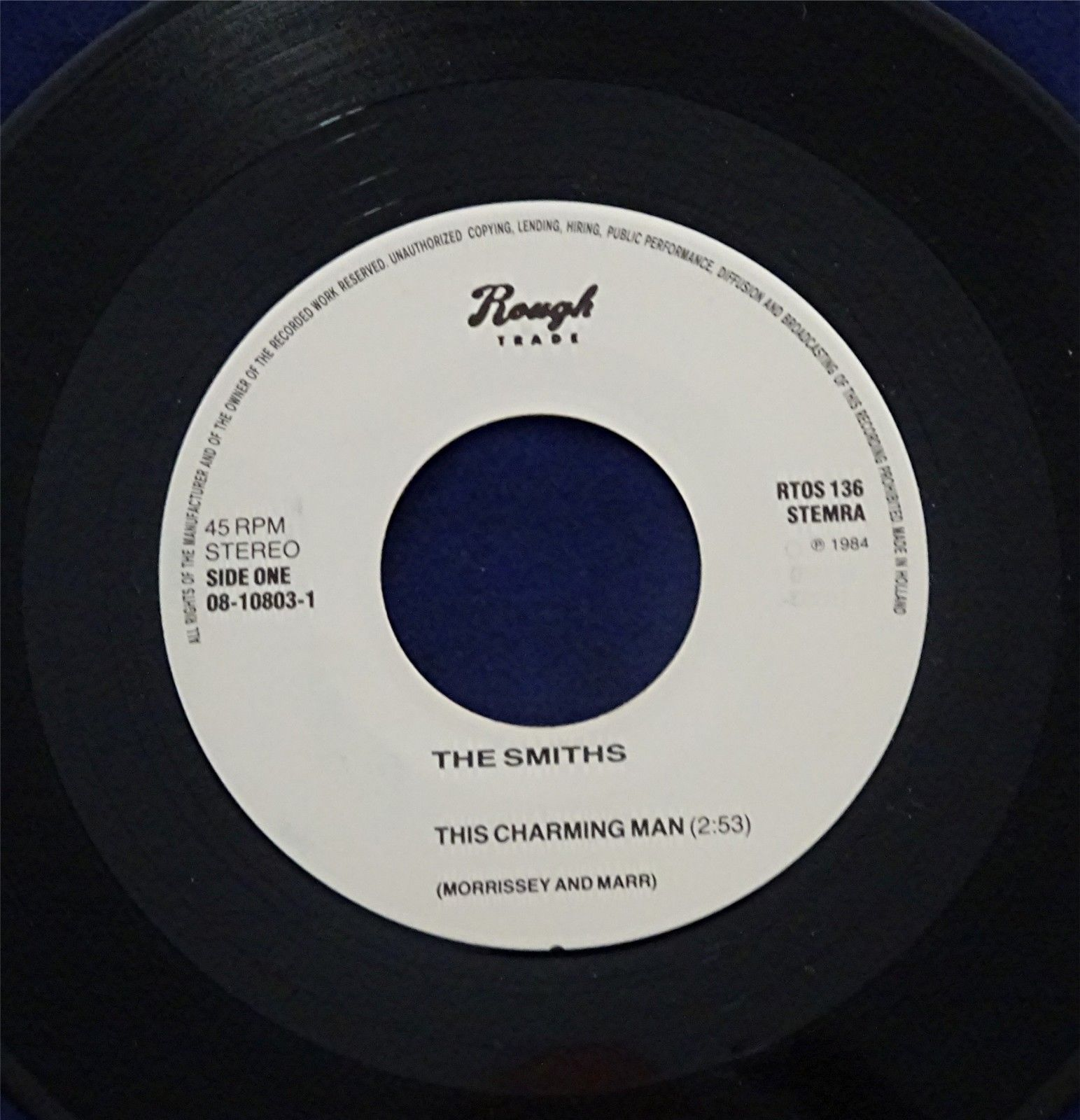 "THE SMITHS THIS CHARMING MAN 7"" ONE SIDED DUTCH 1984"