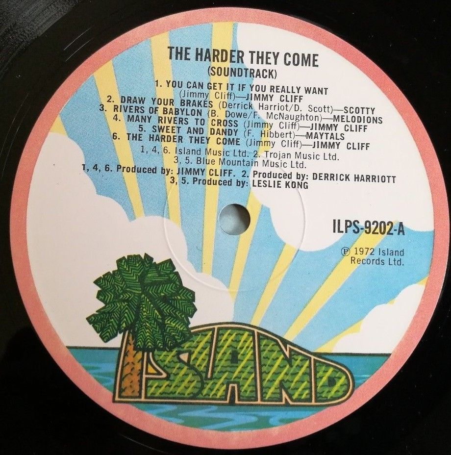 Jimmy Cliff LP The harder they come UK Pink Island rim 1st Press Soundtrack ))))