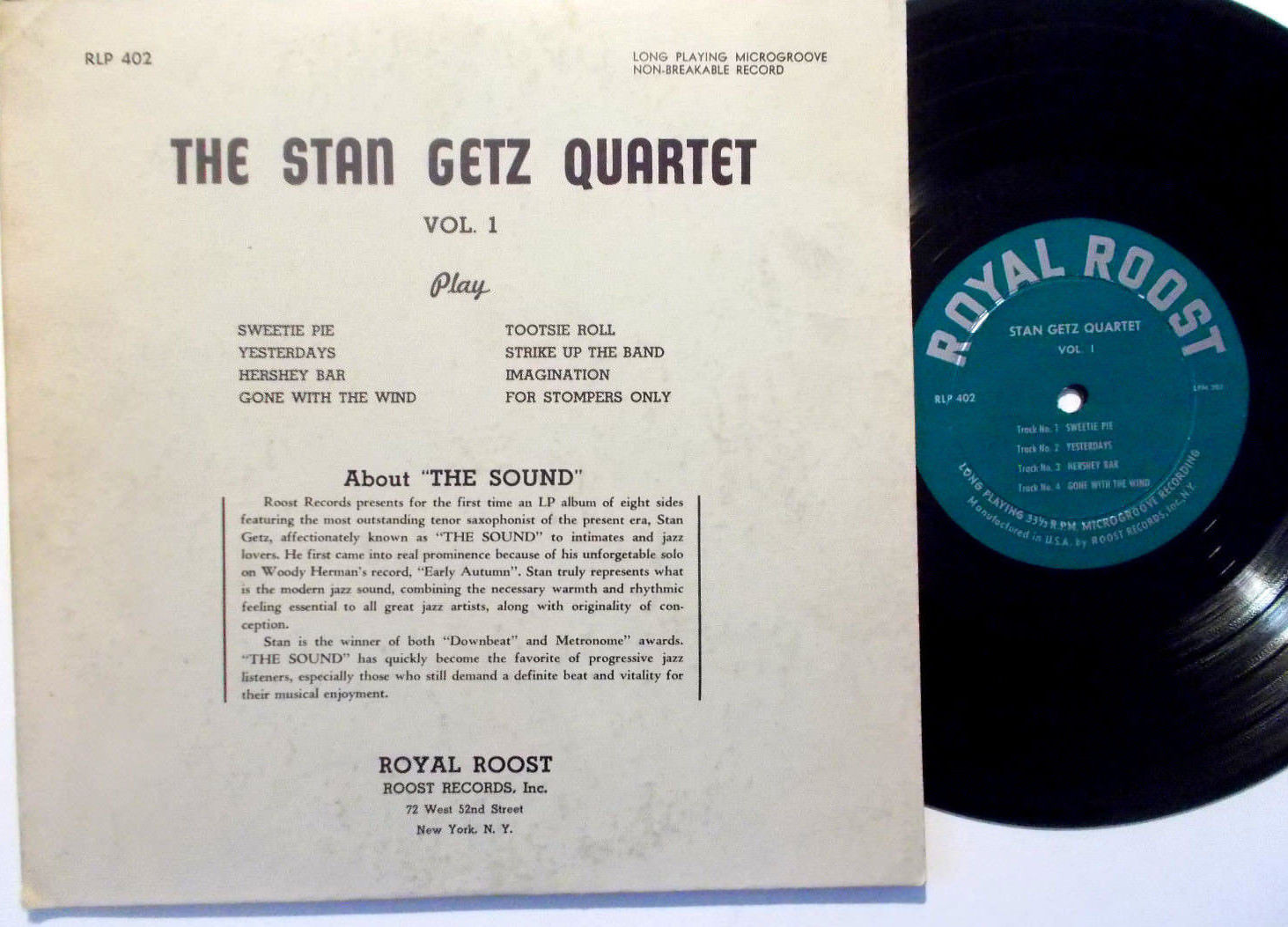 "STAN GETZ QUARTET - Vol. 1 10"" LP on Royal Roost (1950)  VG++"