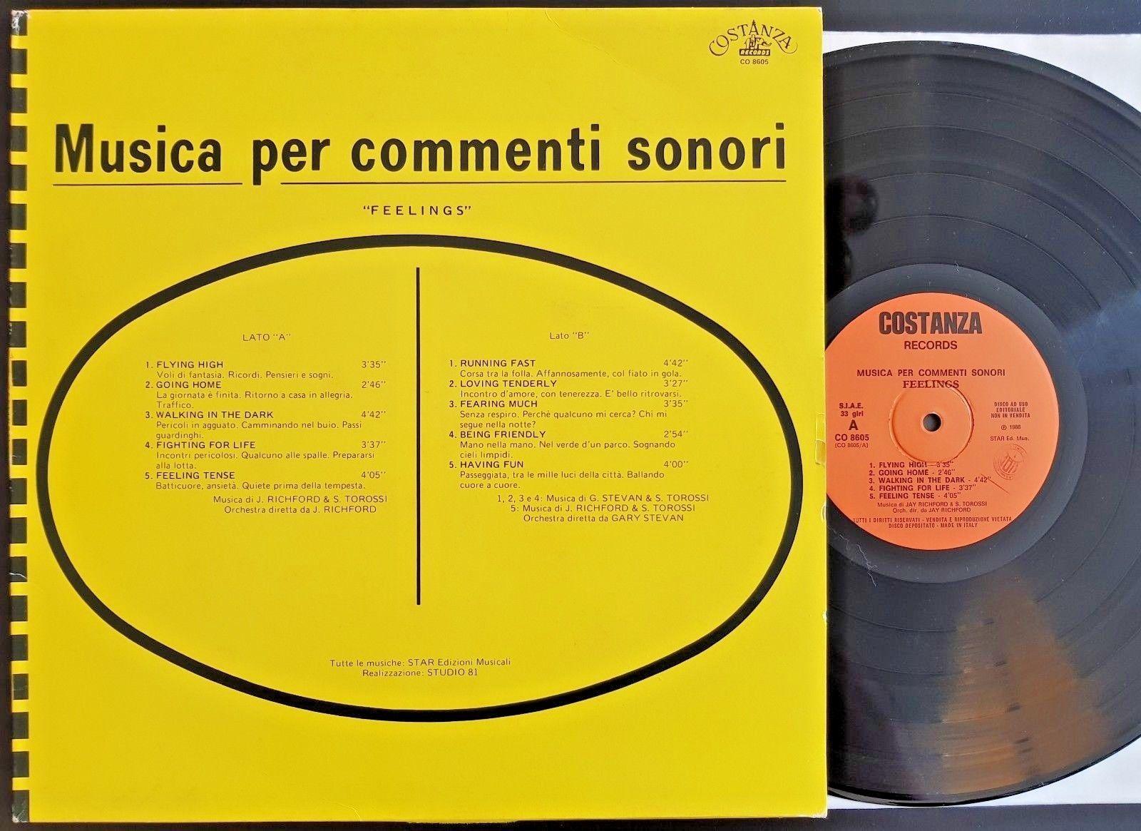 S.Torossi - FEELINGS LP RE 1986 Costanza pr. - Italian FUNK LIBRARY Holy Grail