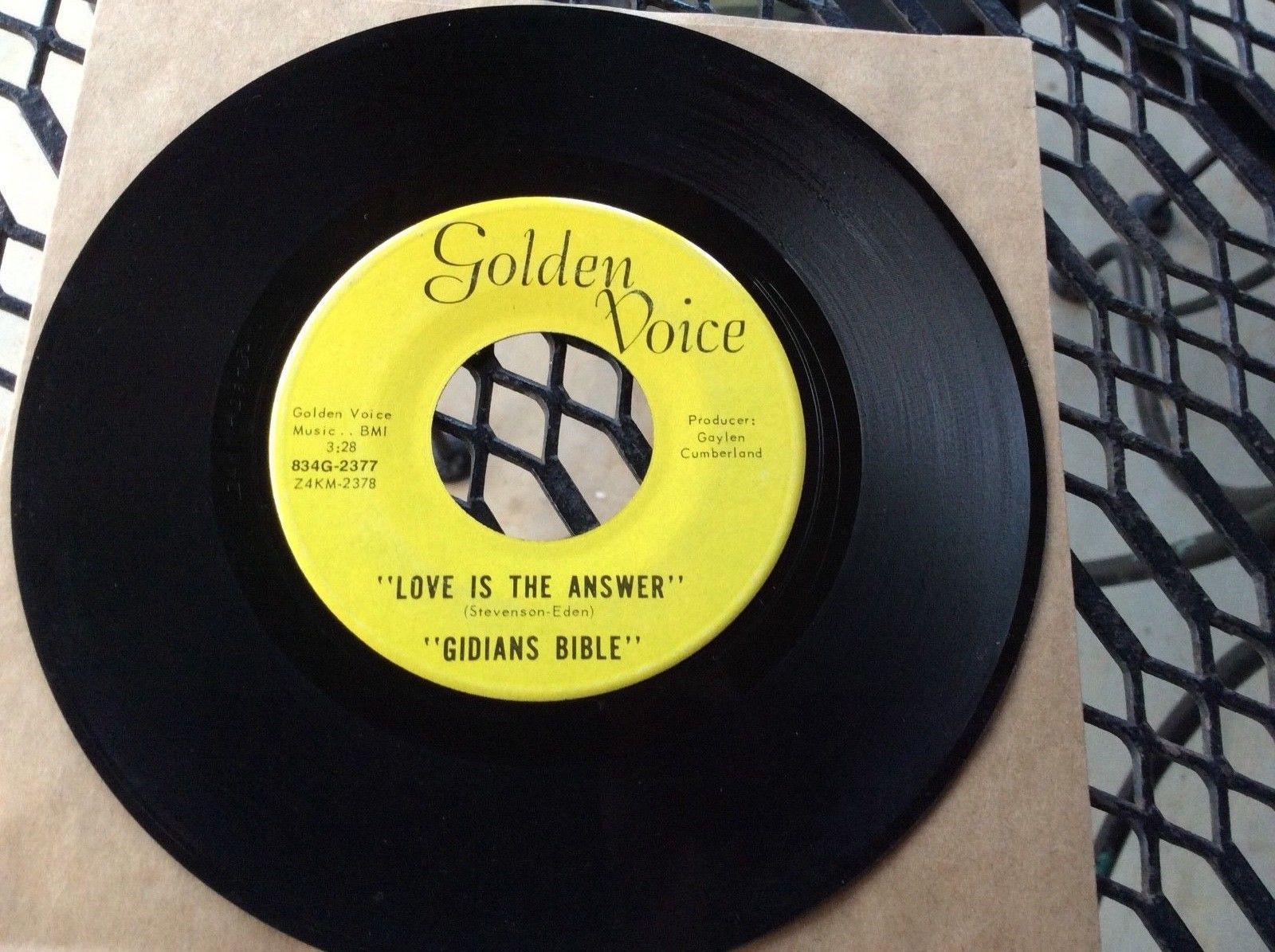 "Illinois Garage 45 'GIDIANS  BIBLE on Golden Voice "" Love is the Answer"" FUZZ"