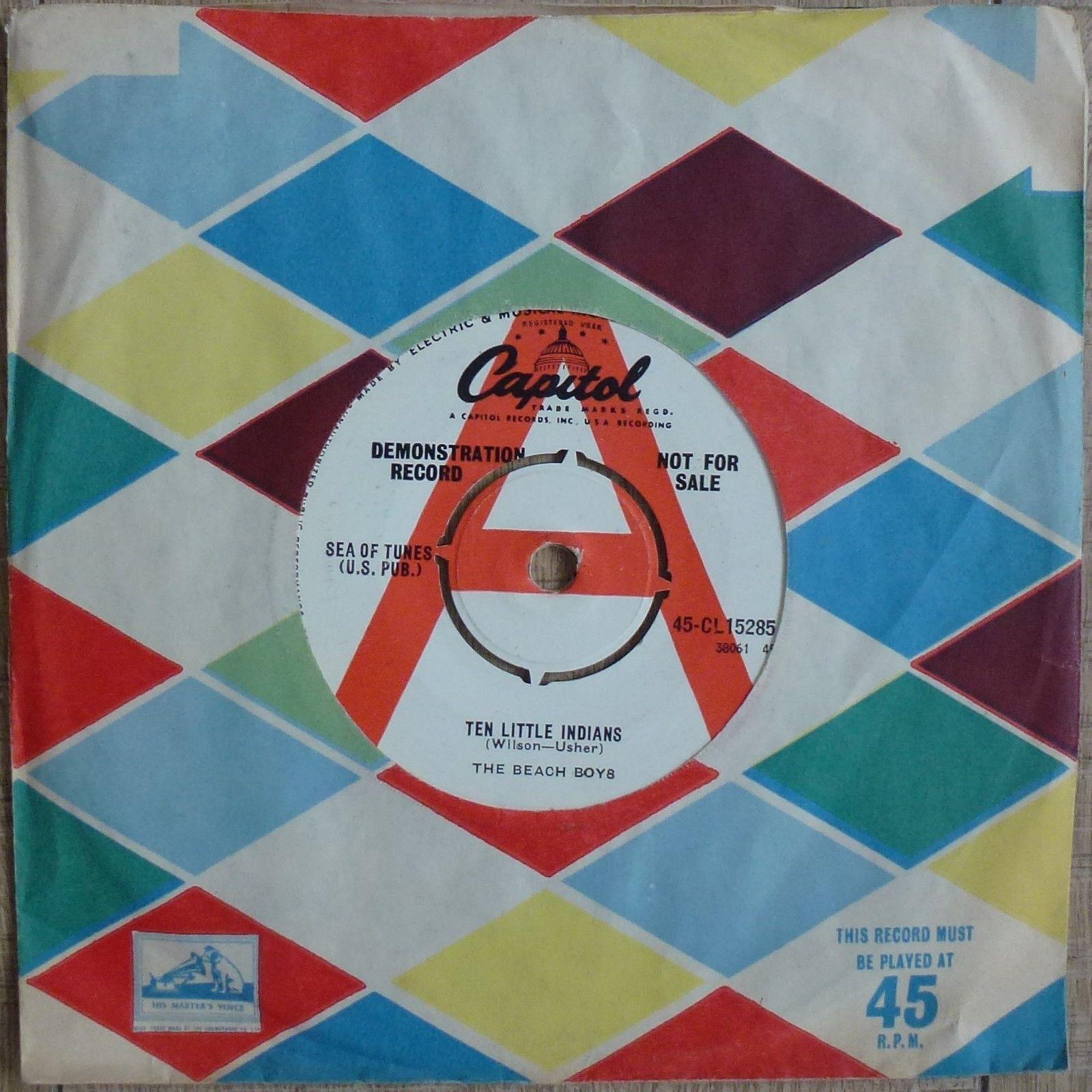 """The Beach Boys - Ten Little Indians - Demo UK 7"""" 1962 Capitol CL 15285 Near Mint"""