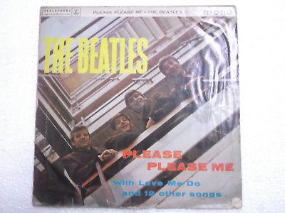 THE BEATLES PLEASE PLEASE ME PARLOPHONE BLACK mono RARE LP record INDIA VG+