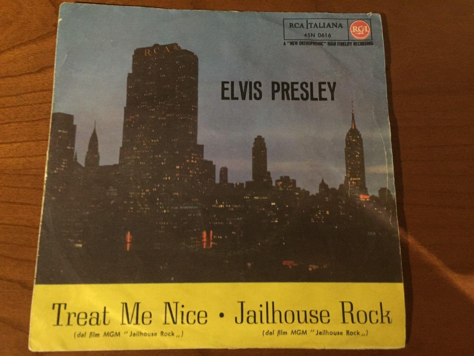 "45 ELVIS PRESLEY ""JAILHOUSE ROCK / TREAT ME NICE"" RAREST PS  ORIG. ITALY 1957"