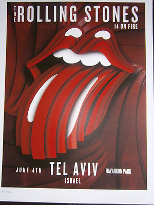 the Rolling Stones poster lithograph 2014 14 on fire tour Tel Aviv-israel