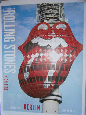 the Rolling Stones Berlin munchen poster lithograph- 14 on fire tour-no filter