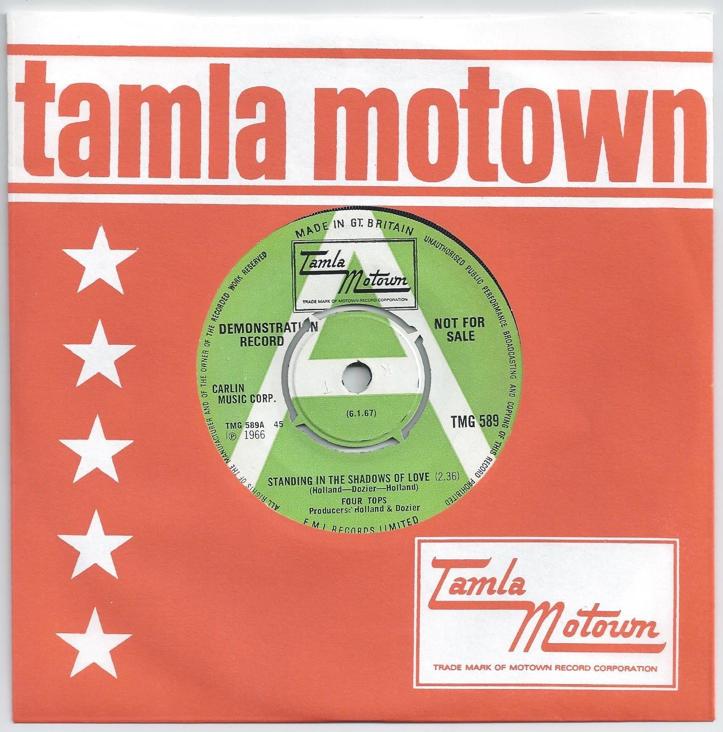 Four Tops - Standing In The Shadows Of Love  - UK Tamla Motown DEMO