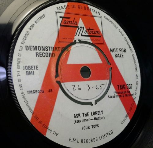 FOUR TOPS - ASK THE LONELY. ORIGINAL UK MOTOWN DEMO. NORTHERN SOUL RARITY. EX+