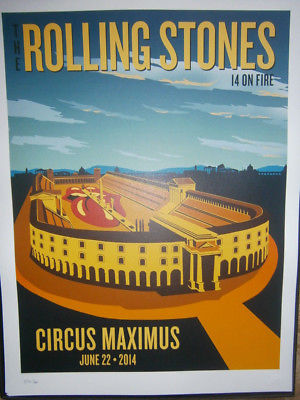 Rolling Stones Roma circus maximus poster lithograph 2014 on fire tour-no filter