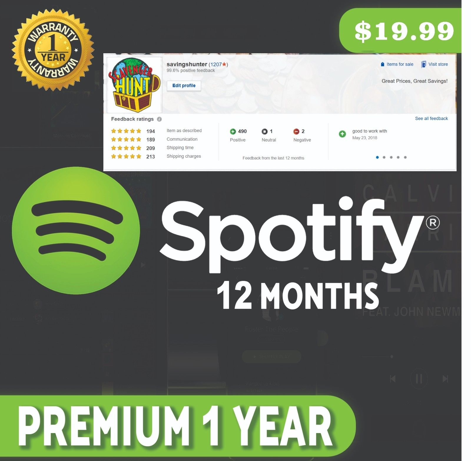 popsike com - Spotify Premium 1 Year 12 Months UPGRADE YOUR CURRENT
