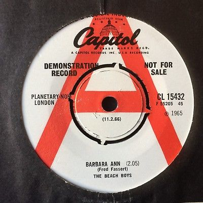"THE BEACH BOYS: DEMO COPY ""BARBARA ANN"" on CAPITOL CL 15432"