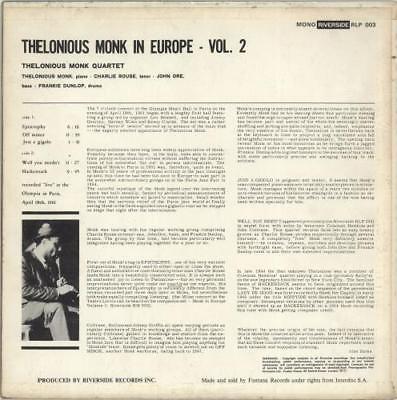 Thelonious Monk In Europe Vol. 2 UK vinyl LP album record RLP003 RIVERSIDE