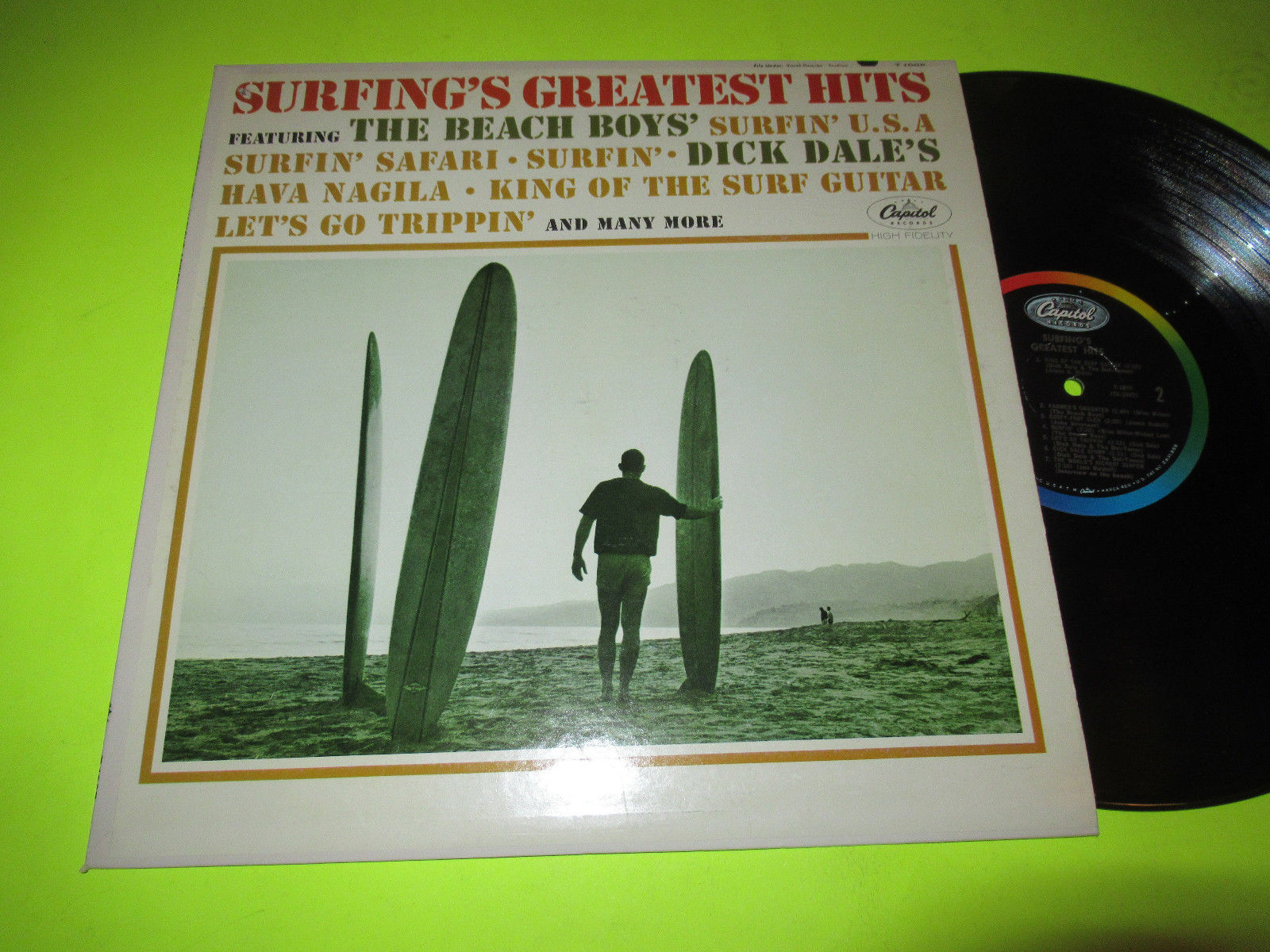 SURFINGS GREATEST HITS LP SURF ROCK DICK DALE BEACH BOYS FRANK STEIN DROP OUTS