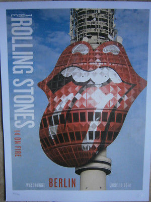 the Rolling Stones Berlin  poster lithograph- 14 on fire tour-no filter