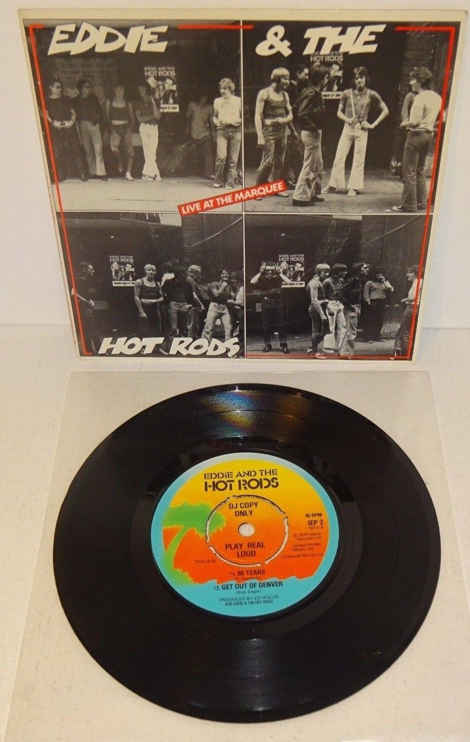 "EDDIE AND THE HOT RODS LIVE AT THE MARQUEE EP 1976 ISLAND UK 7"" 1st DJ Copy. P/S"