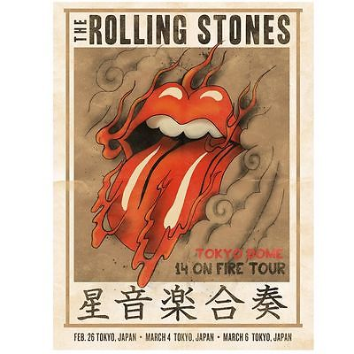 Rolling Stones poster 2014 tokyo japan lithograph asia-14 on fire tour-no filter