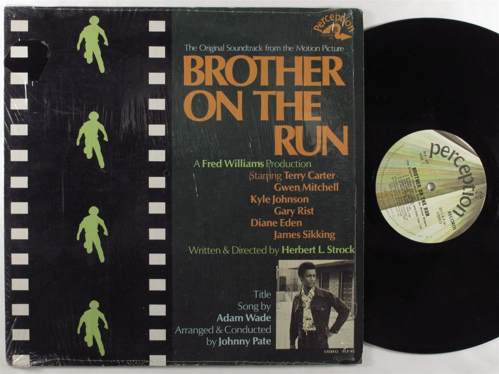 BROTHER ON THE RUN OST Johnny Pate PERCEPTION LP VG++ SHRINK