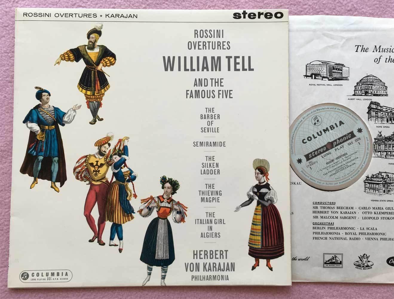 HERBERT von KARAJAN Rossini ORIG Columbia blue/silver SAX 2378 UK-1961 LP NM