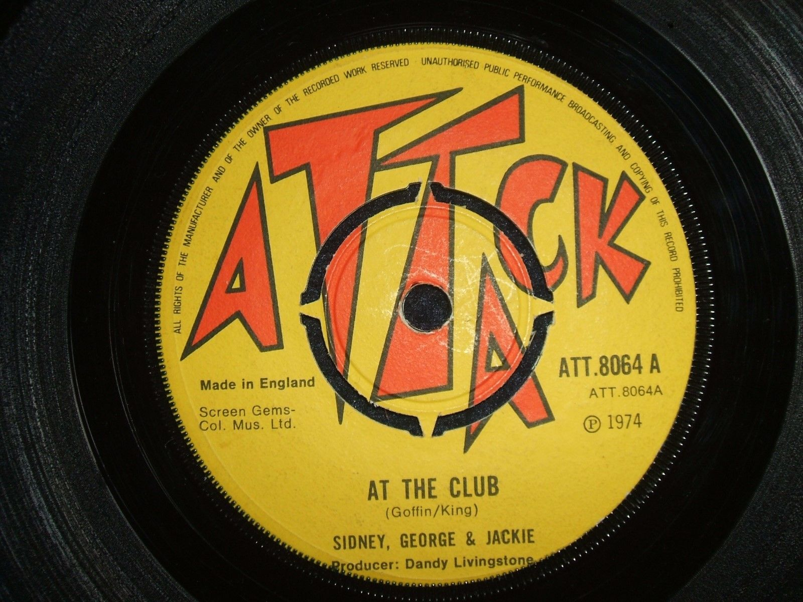 "SIDNEY, GEORGE & JACKIE  -  AT THE CLUB  (REGGAE)  45""  LISTEN"