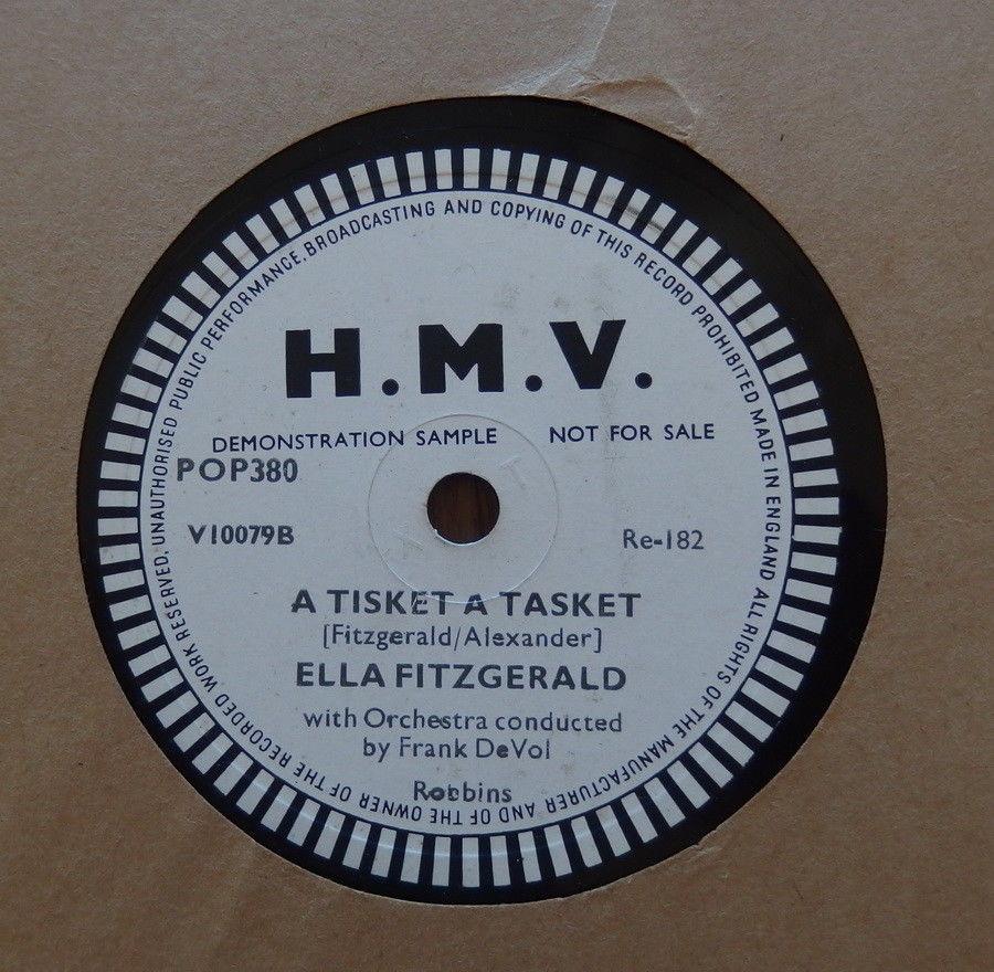 """Ella Fitzgerald : A Tisket A Tasket UK rare one sided 78 Test Pressing 10"""" HMV"""