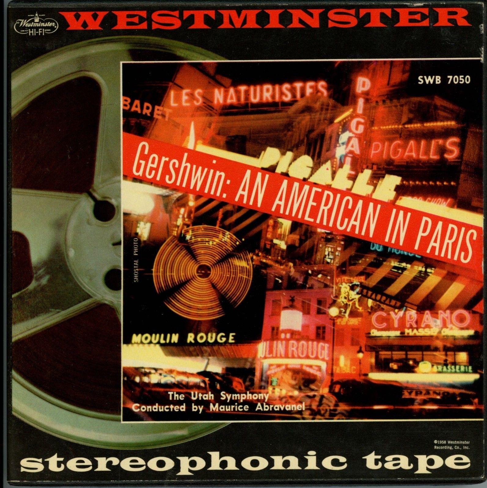 WESTMINSTER 2-TRACK TAPE SWB-7050: GERSHWIN - AN AMERICAN IN PARIS / ABRAVANEL