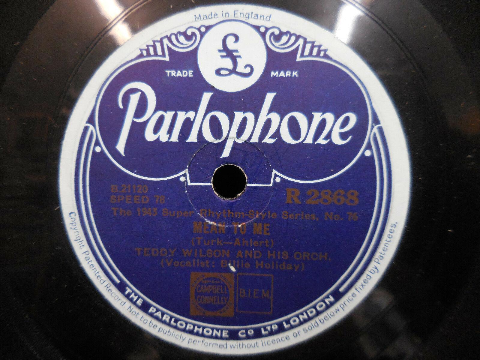 TEDDY WILSON BILLIE HOLIDAY/ELLA FITZGERALD PARLOPHONE R 2868 UK IMPORT 78 RPM