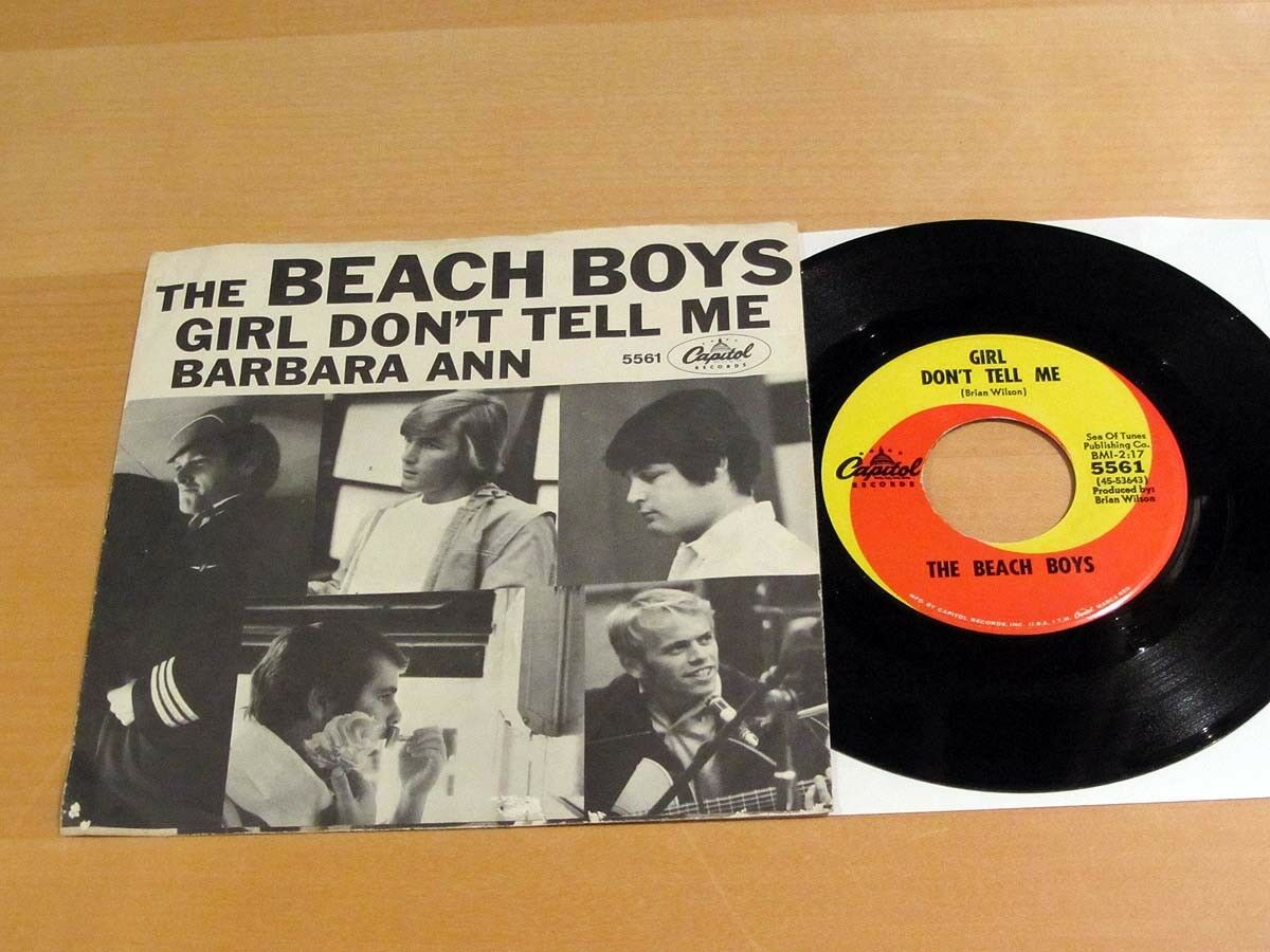 Rare BEACH BOYS 45 W/Pic Sleeve Girl Don't Tell Me / Barbara Ann CAPITOL 5561