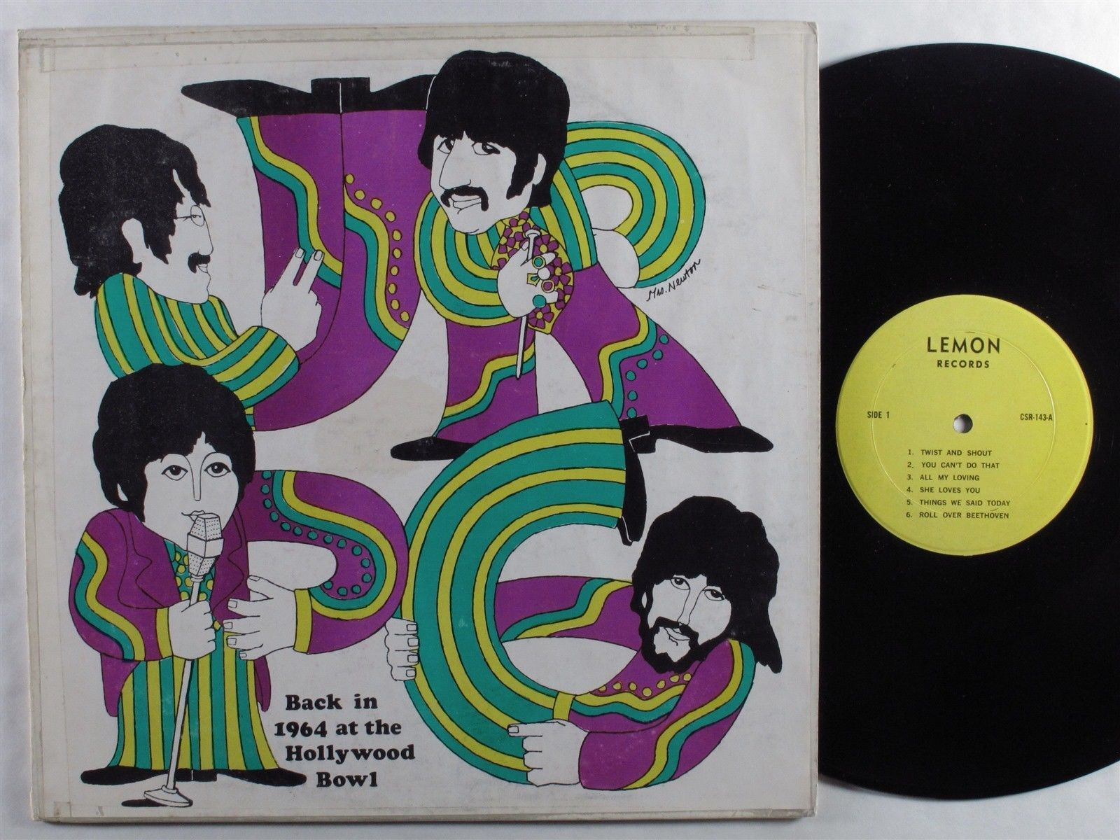 BEATLES Back In 1964 At The Hollywood Bowl LEMON LP VG+ unofficial release