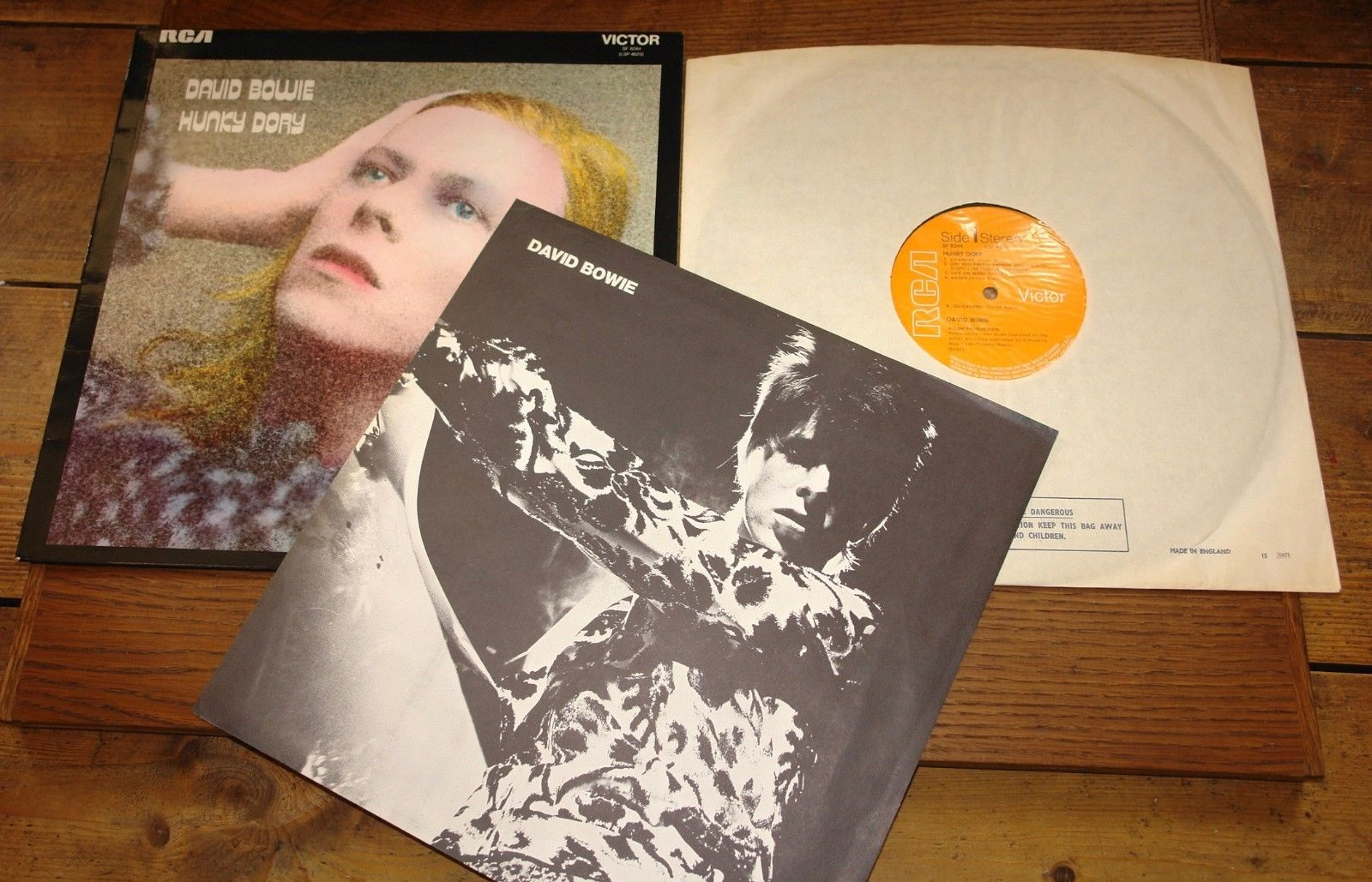 DAVID BOWIE HUNKY DORY UK RCA 3T BOBIL RASPUTIN 1ST PRESS 1971 W/ INNER & INSERT