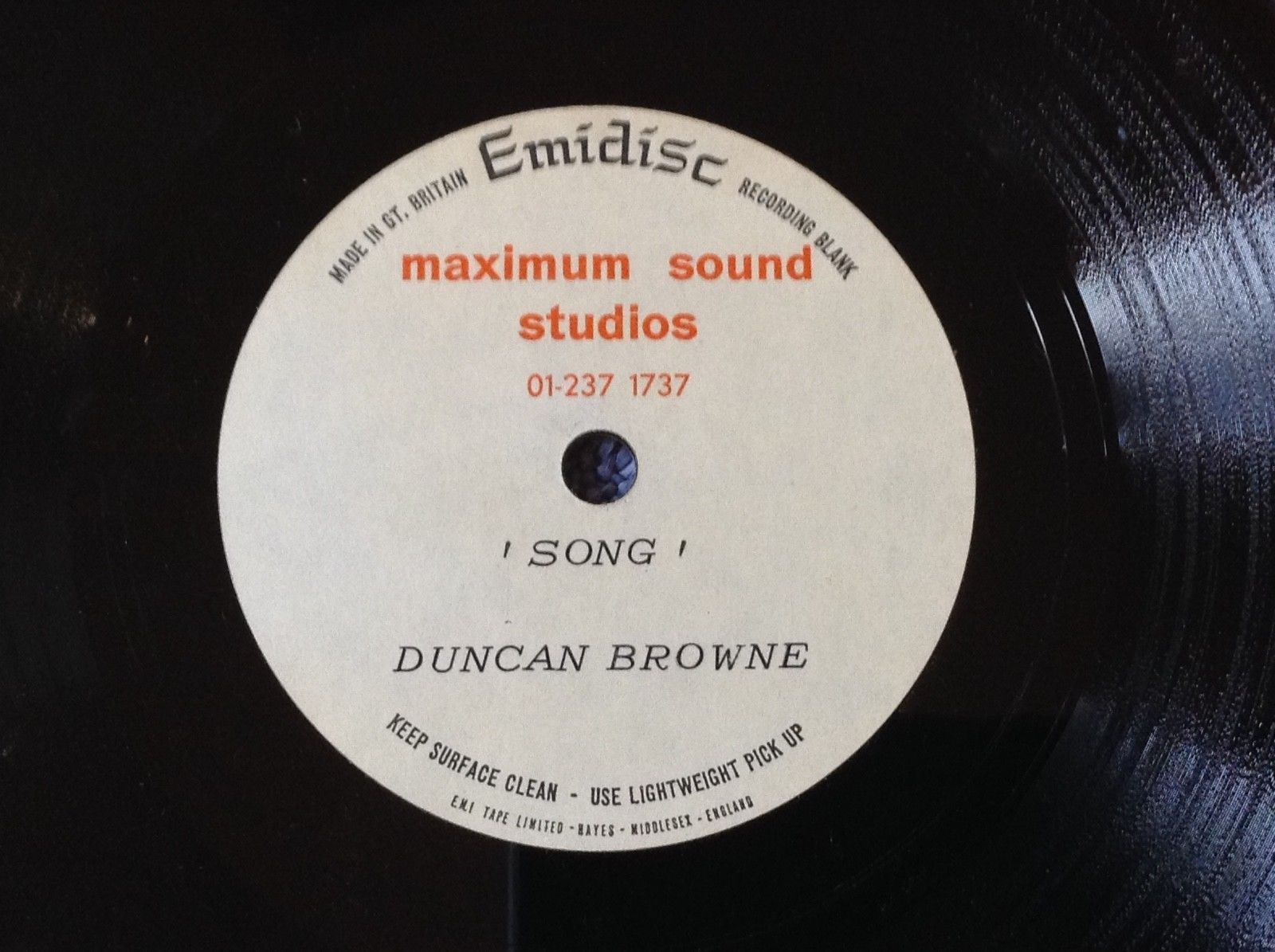 UNRELEASED 1968 DEMO ACETATE - DUNCAN BROWNE rare 1968 - 2 PSYCH FOLK TRACKS