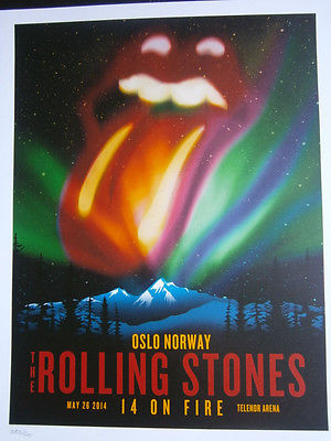 the Rolling Stones poster lithograph 2014 oslo europe 14 on fire tour -no filter