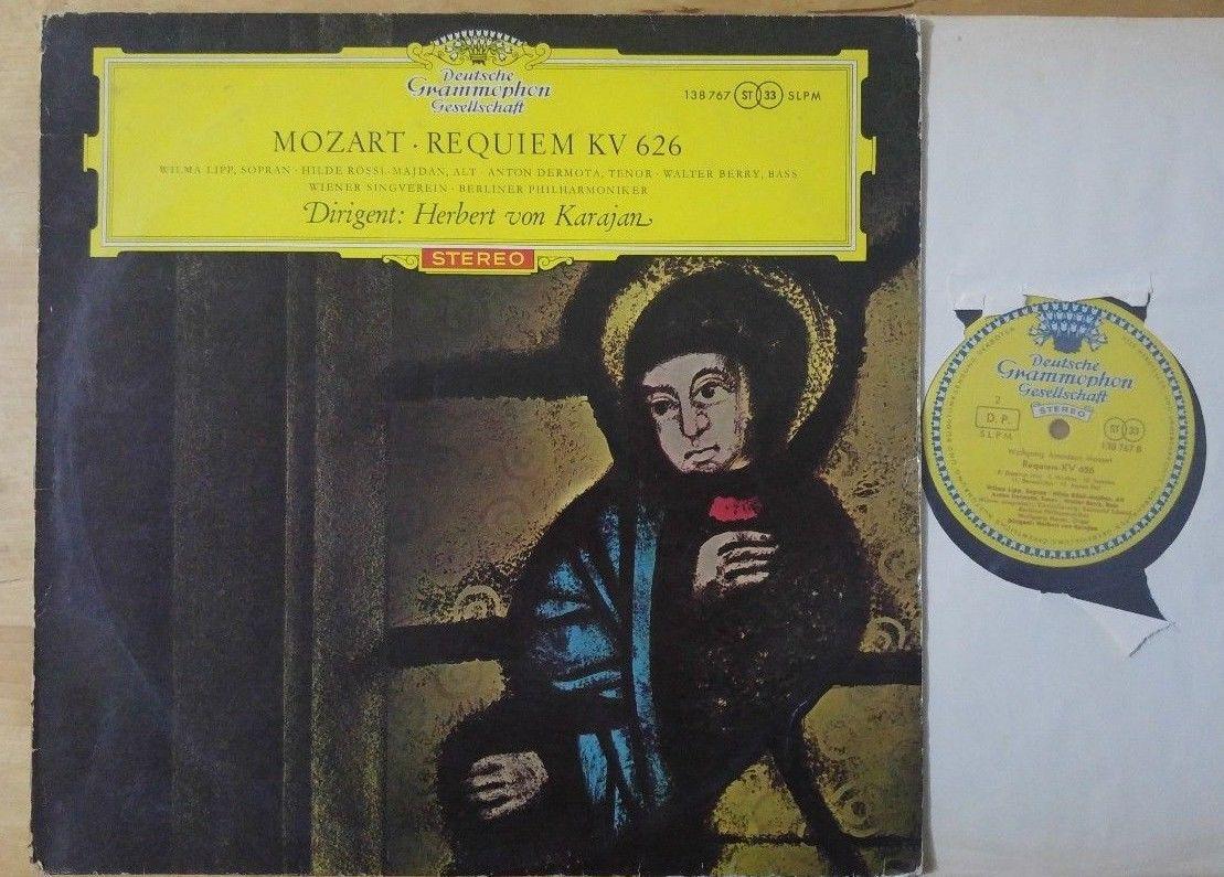 Mozart - Requiem KV 626 Karajan Lipp Rossl-Majdan DGG Red Stereo Big Tulip LP NM