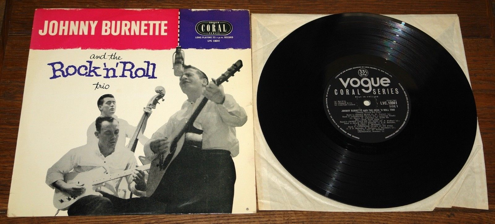 """JOHNNY BURNETTE AND THE ROCK 'N' ROLL TRIO UK CORAL VOGUE 10"""" LP 1956 EXCELLENT"""
