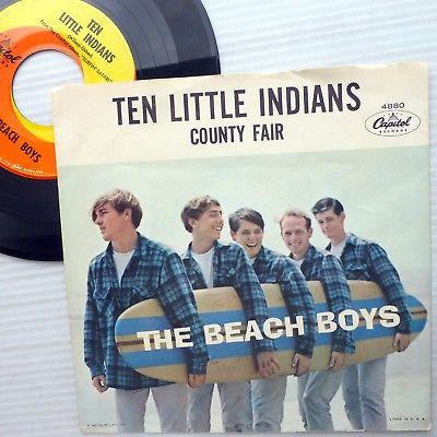 BEACH BOYS strongVG vinyl 45 EXCELLENT p.s TEN LITTLE INDIANS / COUNTY FAIR CT26
