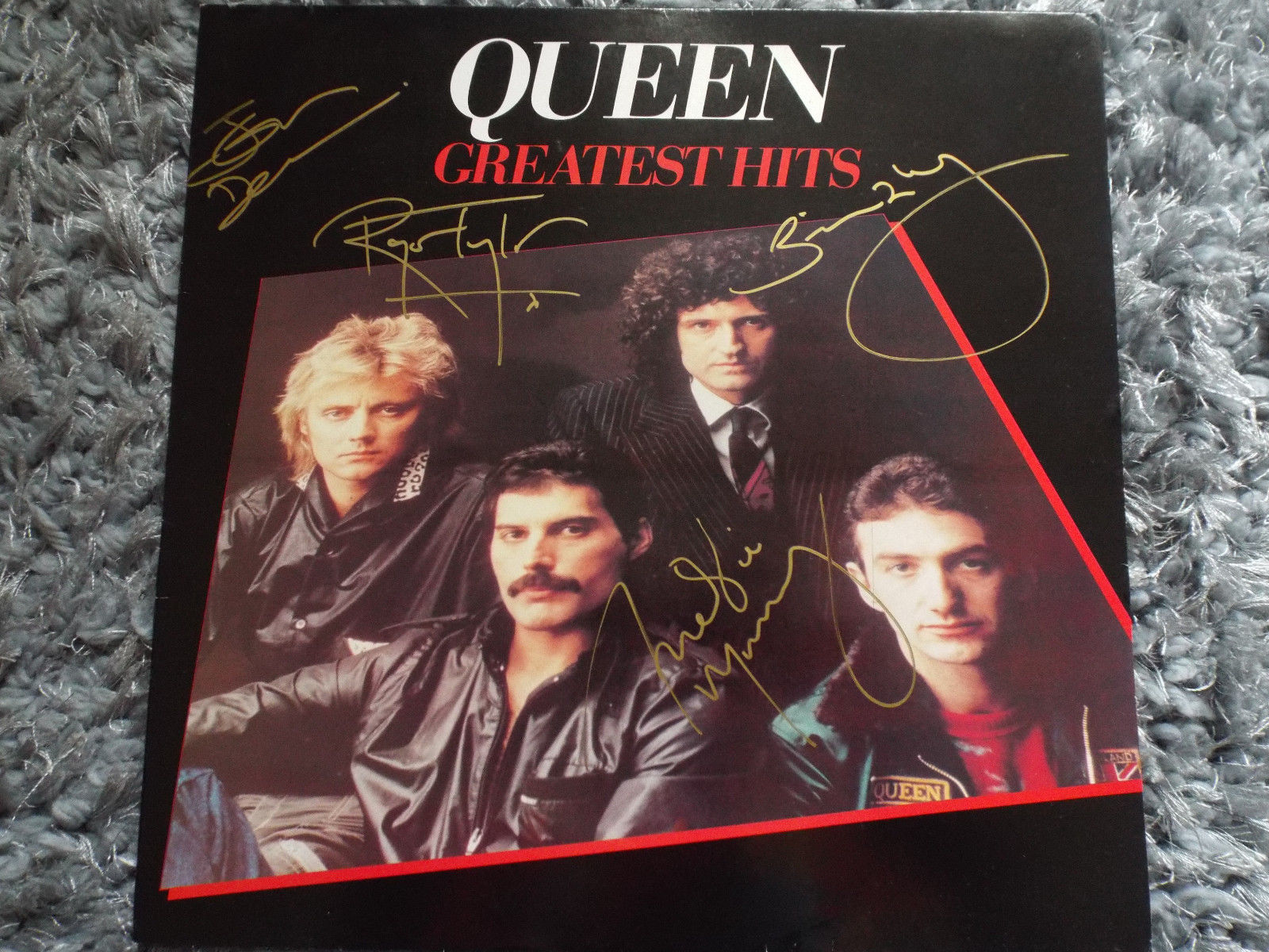 Queen, Greatest Hits vinyl, signed by band including Freddie Mercury