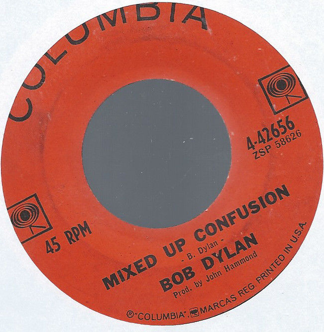BOB DYLAN MIXED UP CONFUSION b/w CORRINA CORRINA ORIG ORANGE COLUMBIA 4-42656 45
