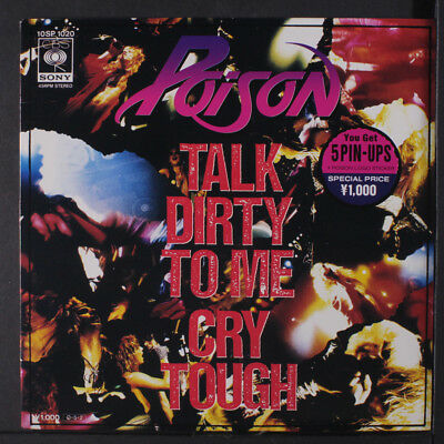 POISON: Talk Dirty To Me / Cry Tough 45 (Japan, PC, 5 inserts, unused sticker)