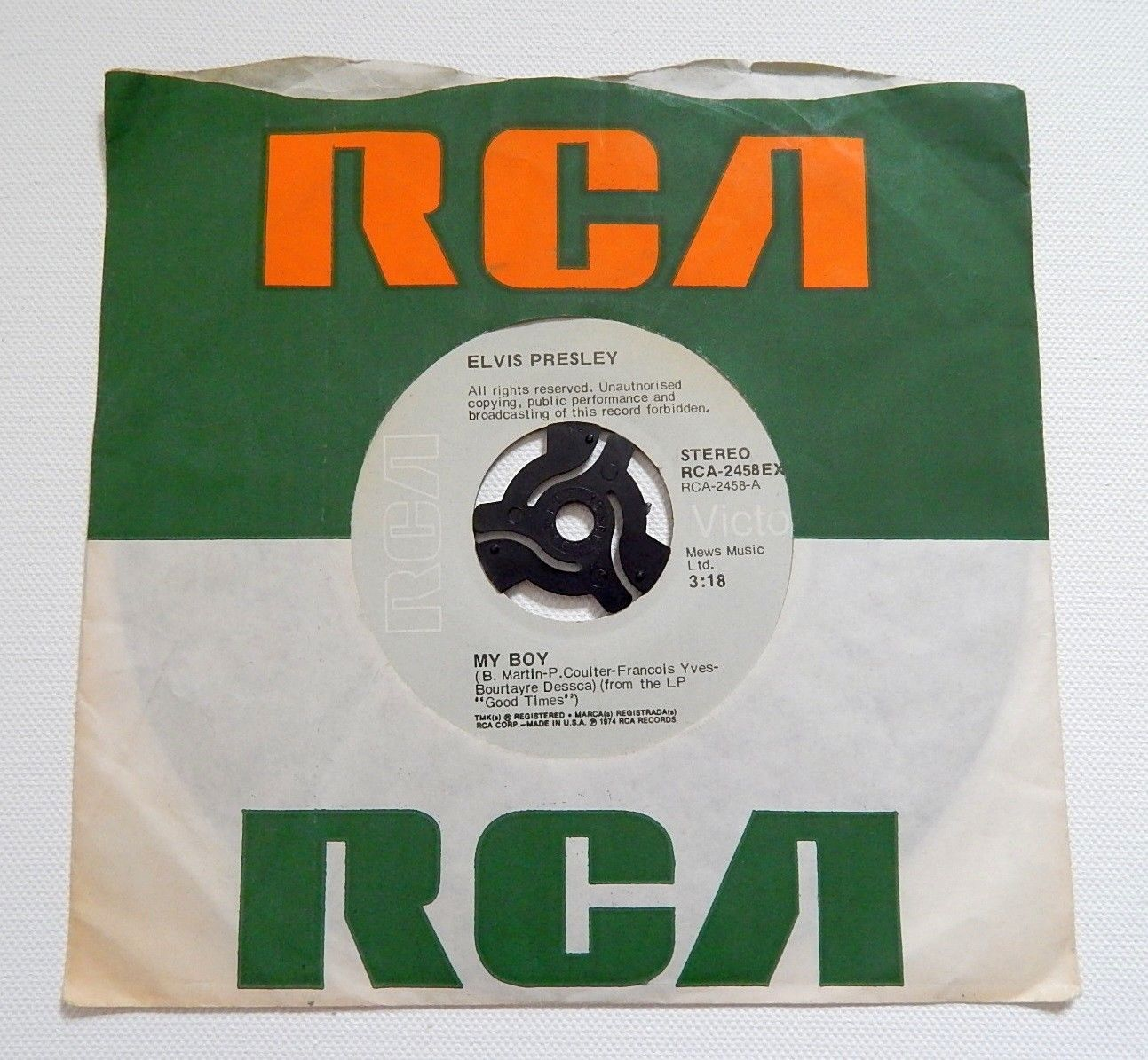 "Elvis Presley -  My Boy - 7"" Single - RCA-2458EX"